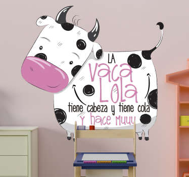 Farm animal wall decal for children room decoration. It is designed with a cow and cow lola nursery rhyme. Easy to apply, adhesive and durable.
