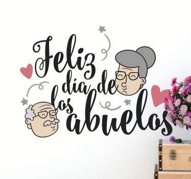 """Vinilo formado por el texto """"Feliz día de los abuelos"""" para celebrar este acontecimiento tan bonito e importante. Envío Express en 24/48h"""