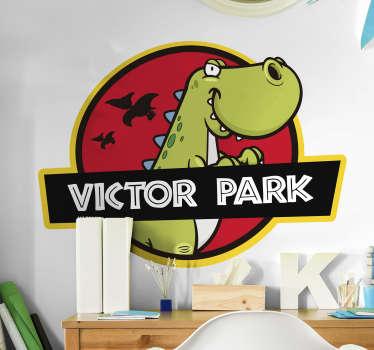 Sticker Chambre Enfant Dessin de Dinosaure Personnalisable