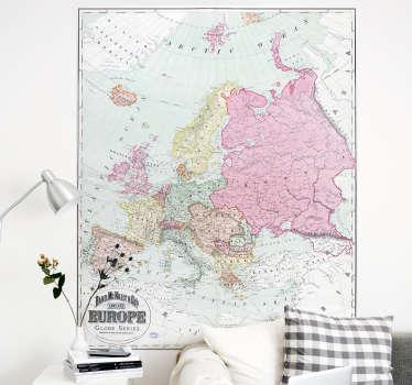 Woonkamer muursticker kaart van Europa 1900