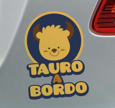 Decorative signs of the zodiac baby on board sticker designed with a cartoon baby and the text ''Taurus on board''. Easy to apply and adhesive.
