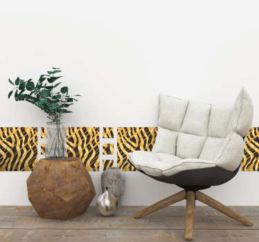 Tegelsticker tijgerprint behangrand