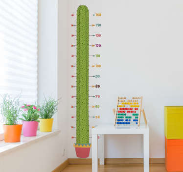 Kaktus høyde diagram vegg klistremerke
