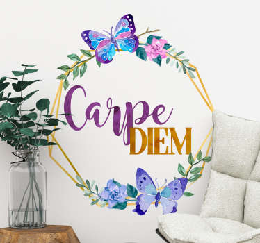 Carpe diem kukkia olohuoneen seinän sisustus