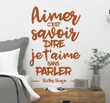 Decorative home wall decal designed with love quote inspired by Victor Hugo. Available in different colours and size options.