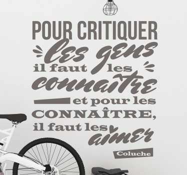 Sticker Motivation Citation de Vie Coluche