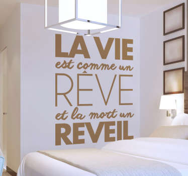 Motivational quote wall decal for home decoration. It is designed with text about '' life dream''. Available in different colours and size options.