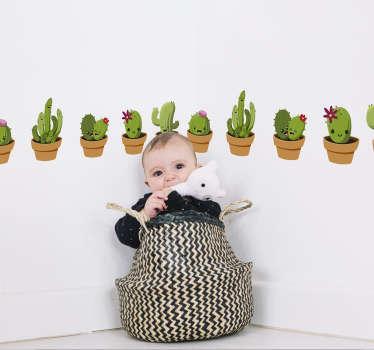 Naklejka z rysunkiem seria wesołych kaktusów