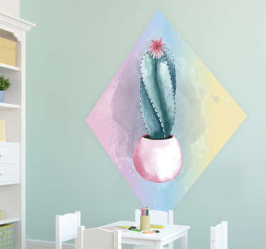 Naklejka z rysunkiem kaktus akwarela
