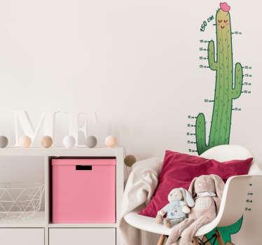 Kaktus højdekort børns væg mærkat