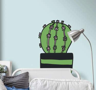 Naklejka na ścianę z rysunkiem kaktusa