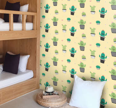 Muursticker cactus patroon tekening