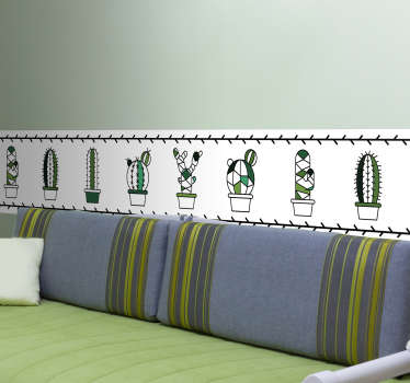 Mini Cacti Wall Border Sticker
