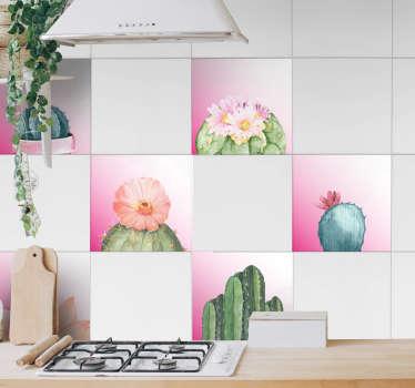 Naklejka na ścianę kaktusy na różowym tle