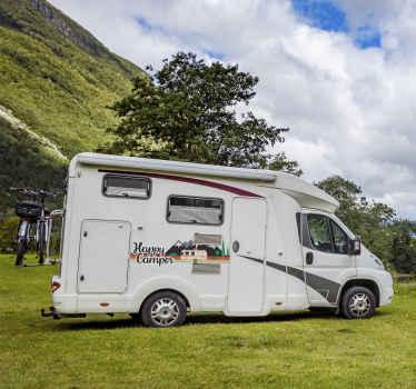 Autocolante para veículos campista feliz