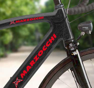 Fantástico kit de adesivos decorativos para bicicletas com o logotipo Marzocchi para poderes colar em qualquer parte da tua bicicleta.