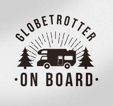 Tekst sticker globetrotter on board