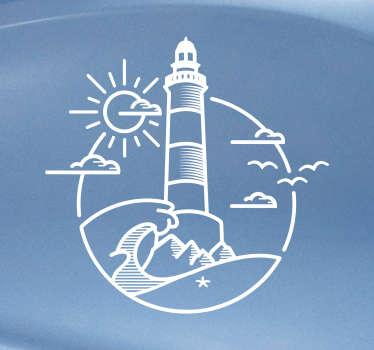 Aufkleber Fahrzeug Leuchtturm Umriss Zeichnung