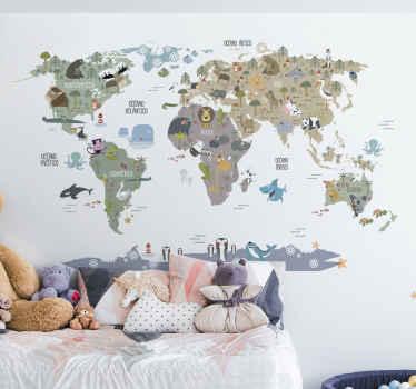 Original vinilo adhesivo con el diseño de un mapamundi infantil en tonos pastel con la fauna de cada continente. +10.000 Opiniones satisfactorias.