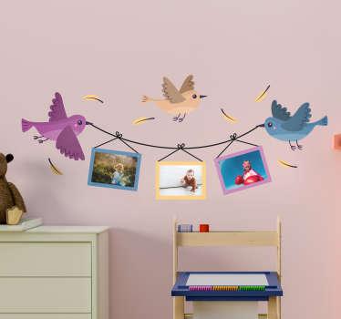 Kinderkamer muursticker vogels met fotolijsten