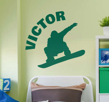 Sticker Sport Silhouette Snowboard Personnalisable