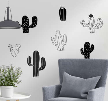 Slaapkamer muursticker cactus zwart wit