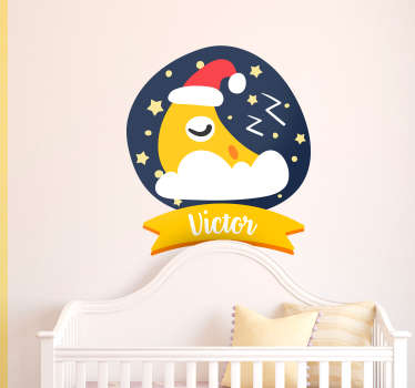 Sticker Enfant Lune Dormante Personnalisable