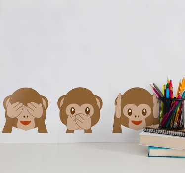 Naklejka na ścianę emotki małpki