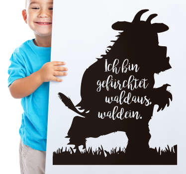 Grüffelo quote silhouette wall decal.  A design created with a monster image and text  content. Available in different colour and size options.