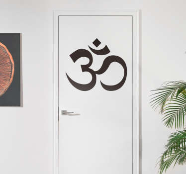 Om Hinduism symbol sticker for decorating door, wall and flat accessories with flat surface in any required size. Easy to apply and adhesive.
