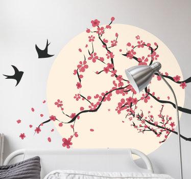Sticker Maison Cerisier et Oiseaux