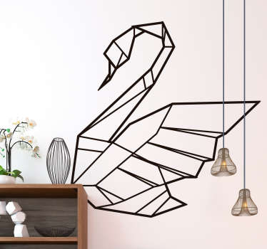 Joutsen origami olohuoneen seinän sisustus
