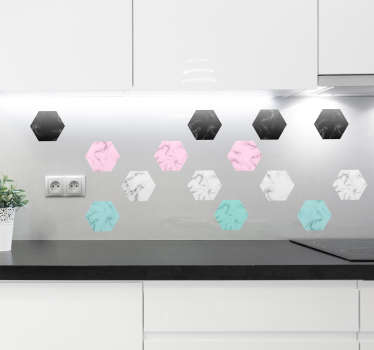 Add some marble hexagons to your kitchen with this fantastic home decal! Anti-bubble vinyl. Available in a variety of sizes.
