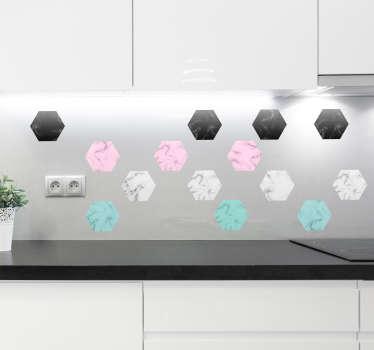 Keuken muursticker zeshoekig marmer patroon