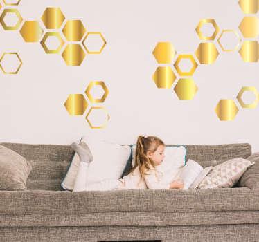Autocolante sala de estar hexagonos dourados