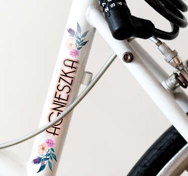 Naklejka na rower imię dziecka i kwiatki