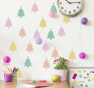Naklejka na ścianę kolorowe choinki