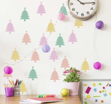 Mini fargerike juletre klistremerker