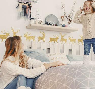 Slaapkamer muursticker gouden rendieren
