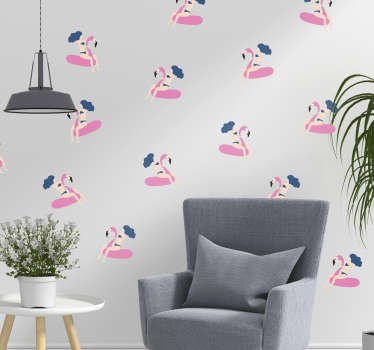 Create a beach feel in your home with this fantastic wallpaper decal, depicting a woman riding a flamingo!