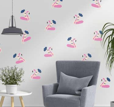 Naklejka na ścianę kobieta na flamingu