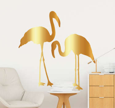 Decorate your wall with this wall decal depicting a pair of golden flamingos - A dream combination! Zero residue upon removal.