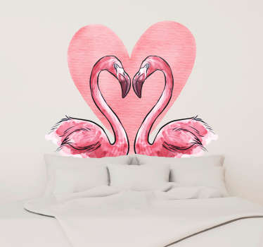 Naklejka na ścianę do sypialni zakochane flamingi