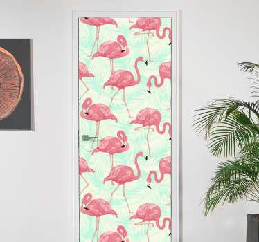 Naklejka na drzwi flamingi na tle liści