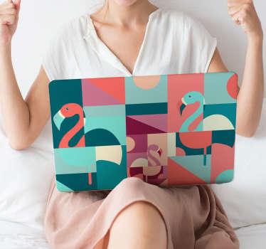 Naklejka na laptop geometryczne flamingi