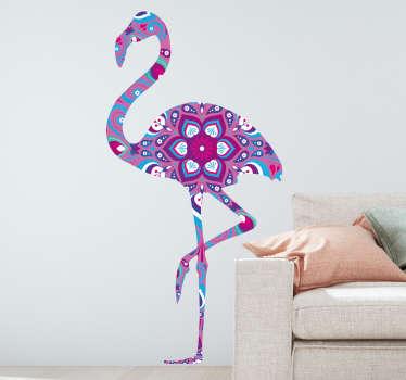 Naklejka do salonu flaming z kwiatowym wzorem