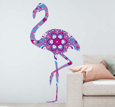 Autocolante sala de estar flamingo mandala