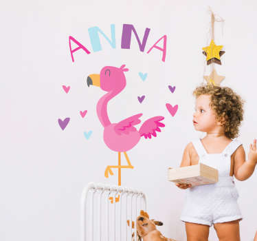Add a flamingo to your child´s bedroom with this fantastic flamingo themed customisable wall sticker! Personalised stickers.