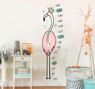 Růžový flamingo výškový graf nálepka na stěnu