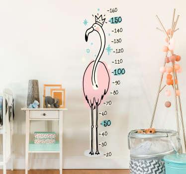 Roza flamingo višina grafikon stenske nalepke
